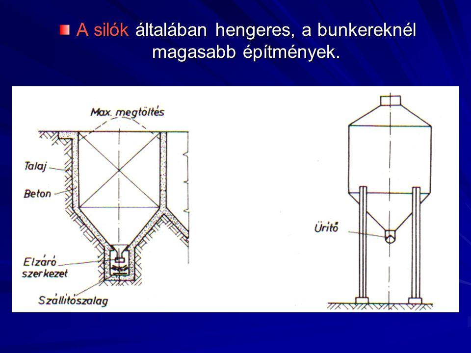 A silók általában hengeres, a bunkereknél magasabb építmények.