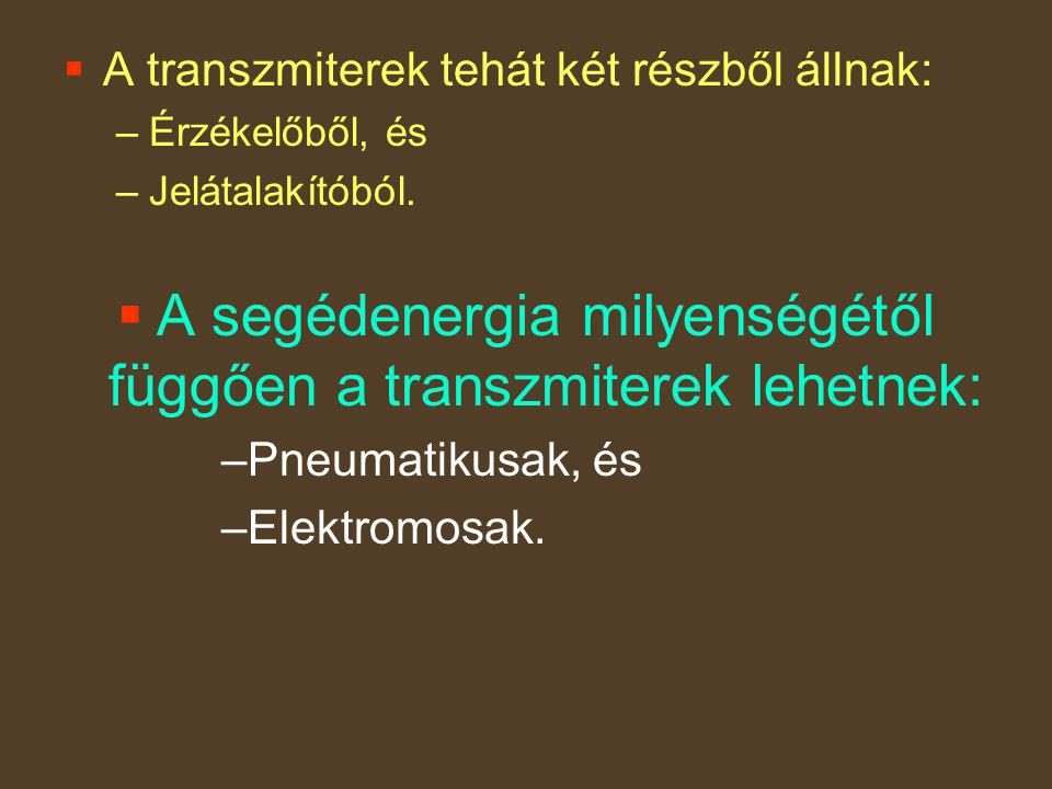 A segédenergia milyenségétől függően a transzmiterek lehetnek: