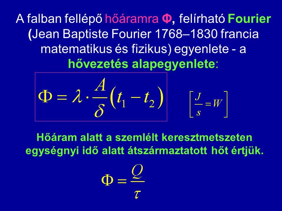 A falban fellépő hőáramra Φ, felírható Fourier (Jean Baptiste Fourier 1768–1830 francia matematikus és fizikus) egyenlete - a hővezetés alapegyenlete: