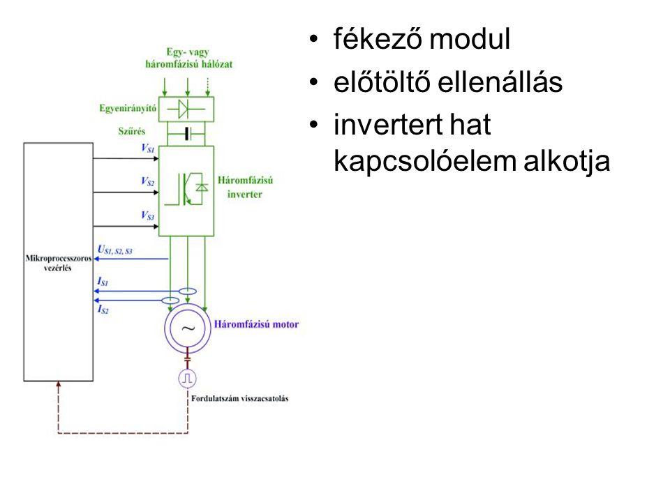 fékező modul előtöltő ellenállás invertert hat kapcsolóelem alkotja