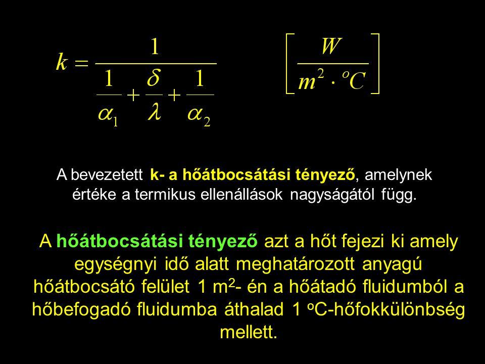 A bevezetett k- a hőátbocsátási tényező, amelynek értéke a termikus ellenállások nagyságától függ.