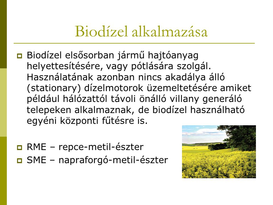 Biodízel alkalmazása