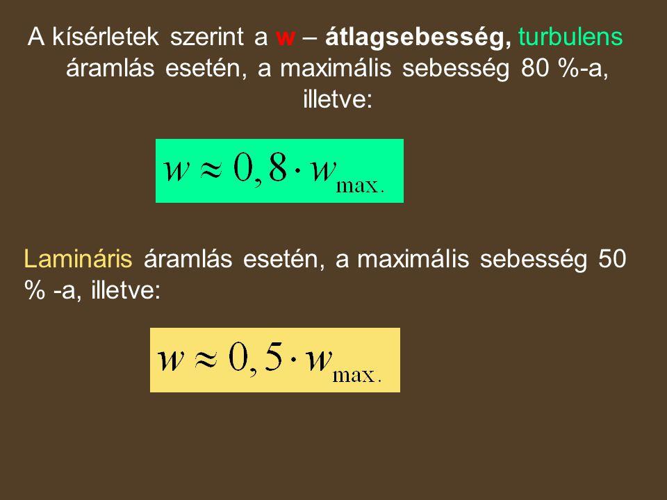 A kísérletek szerint a w – átlagsebesség, turbulens áramlás esetén, a maximális sebesség 80 %-a, illetve: