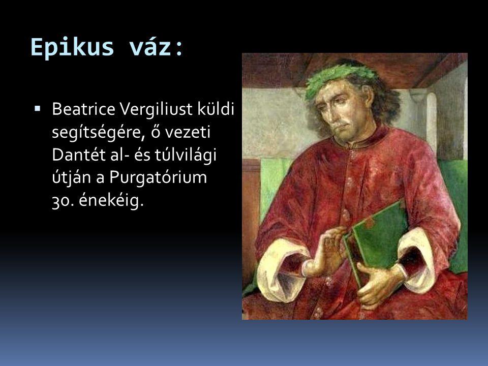 Epikus váz: Beatrice Vergiliust küldi segítségére, ő vezeti Dantét al- és túlvilági útján a Purgatórium 30.