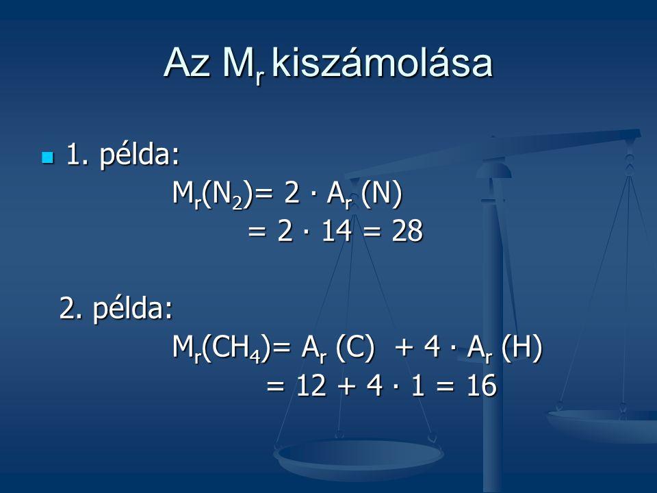 Az Mr kiszámolása 1. példa: Mr(N2)= 2 ∙ Ar (N) = 2 ∙ 14 = 28 2. példa: