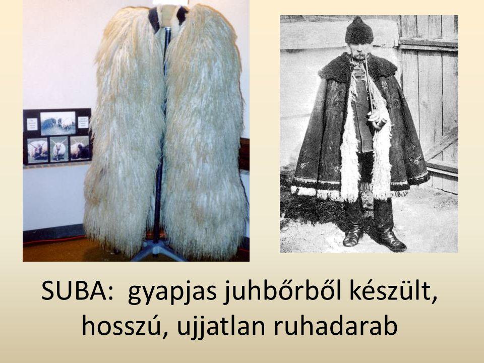 SUBA: gyapjas juhbőrből készült, hosszú, ujjatlan ruhadarab