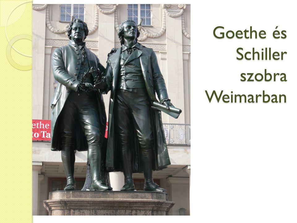 Goethe és Schiller szobra Weimarban
