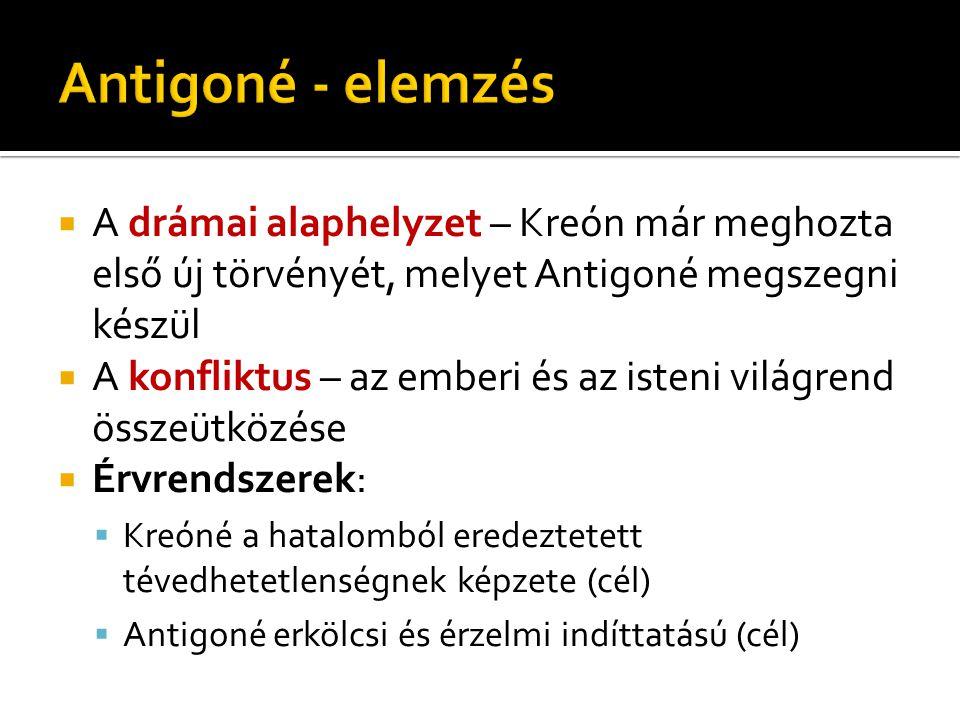 Antigoné - elemzés A drámai alaphelyzet – Kreón már meghozta első új törvényét, melyet Antigoné megszegni készül.