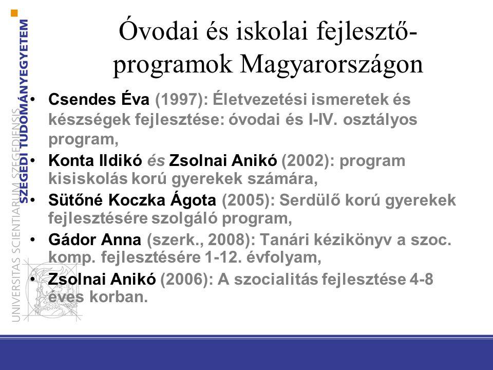 Óvodai és iskolai fejlesztő- programok Magyarországon