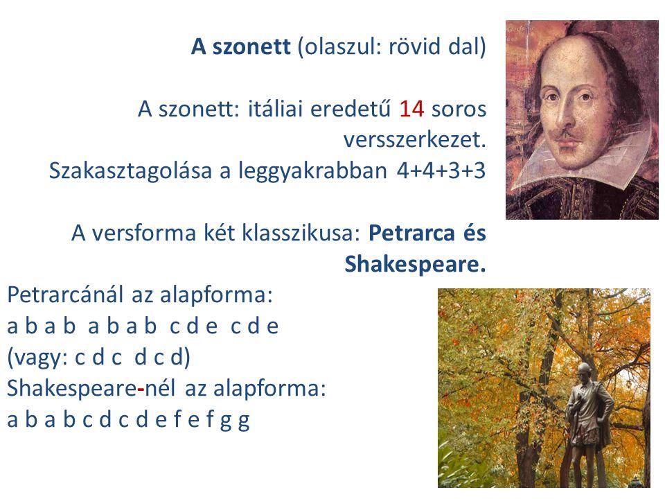 A szonett (olaszul: rövid dal)