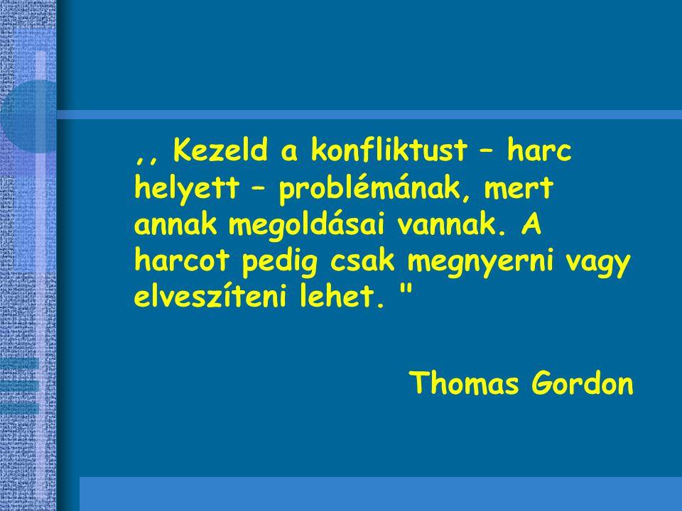,, Kezeld a konfliktust – harc helyett – problémának, mert annak megoldásai vannak. A harcot pedig csak megnyerni vagy elveszíteni lehet.