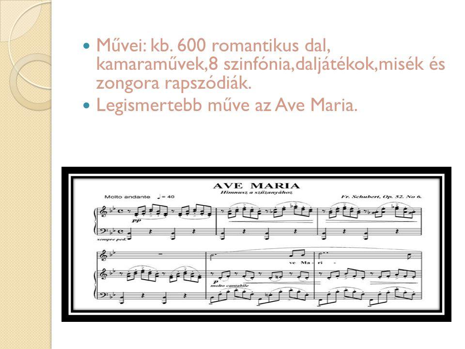 Művei: kb. 600 romantikus dal, kamaraművek,8 szinfónia,daljátékok,misék és zongora rapszódiák.