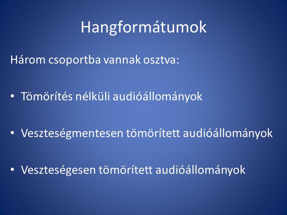 Hangformátumok Három csoportba vannak osztva: