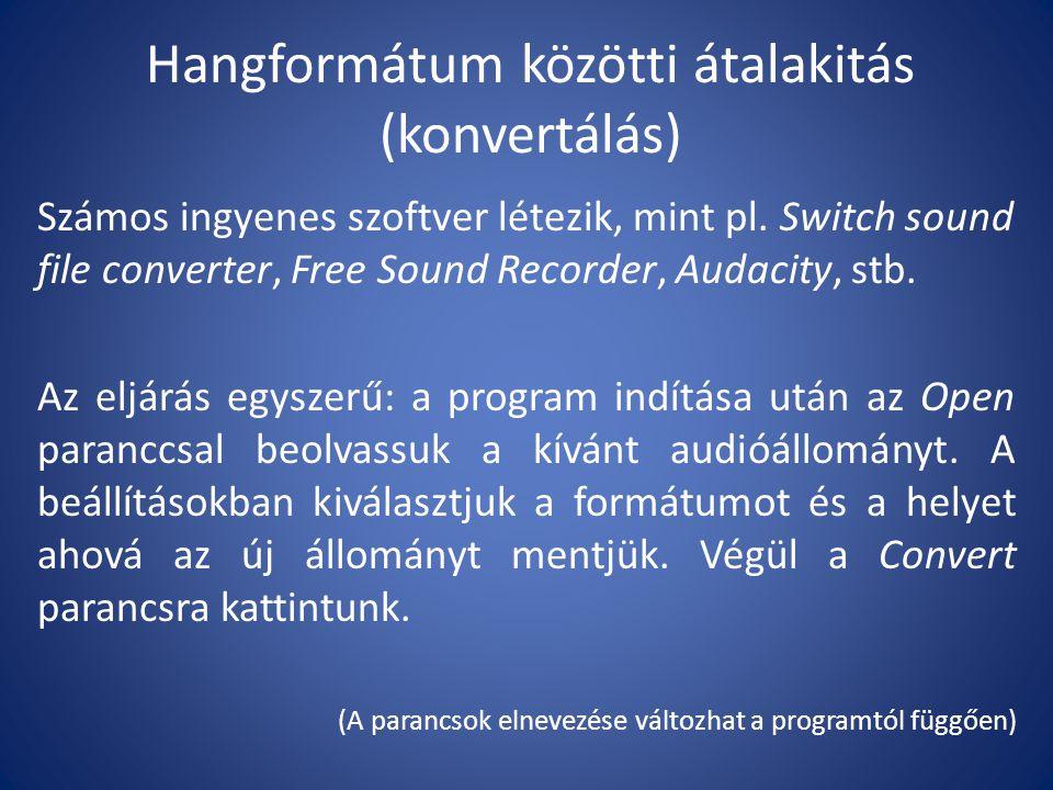 Hangformátum közötti átalakitás (konvertálás)