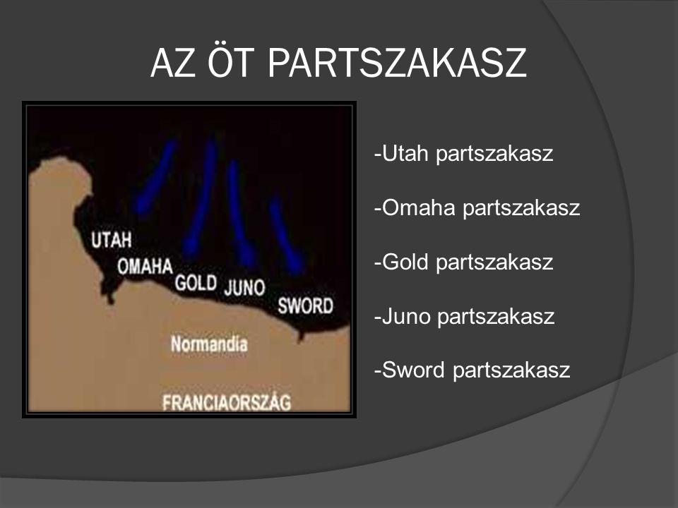 AZ ÖT PARTSZAKASZ Utah partszakasz Omaha partszakasz Gold partszakasz
