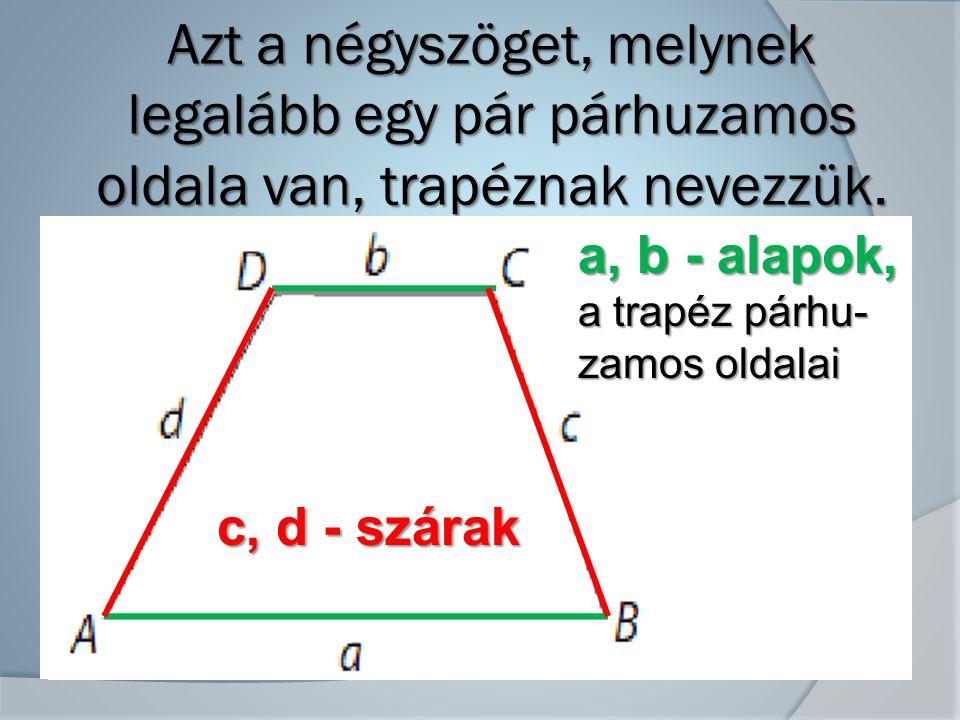 Azt a négyszöget, melynek legalább egy pár párhuzamos oldala van, trapéznak nevezzük.