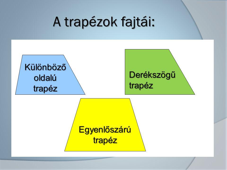 A trapézok fajtái: Különböző oldalú Derékszögű trapéz trapéz