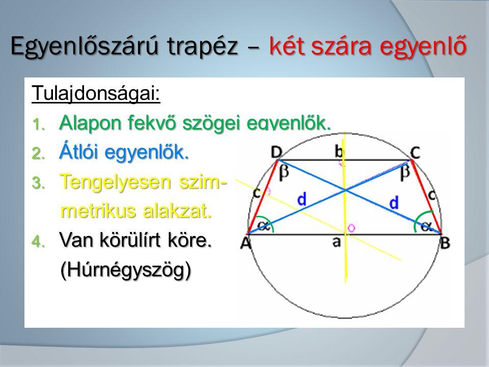 Egyenlőszárú trapéz – két szára egyenlő