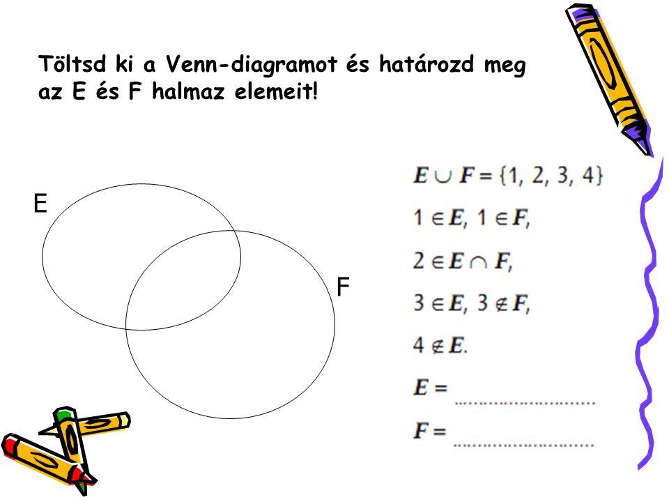 Töltsd ki a Venn-diagramot és határozd meg az E és F halmaz elemeit!
