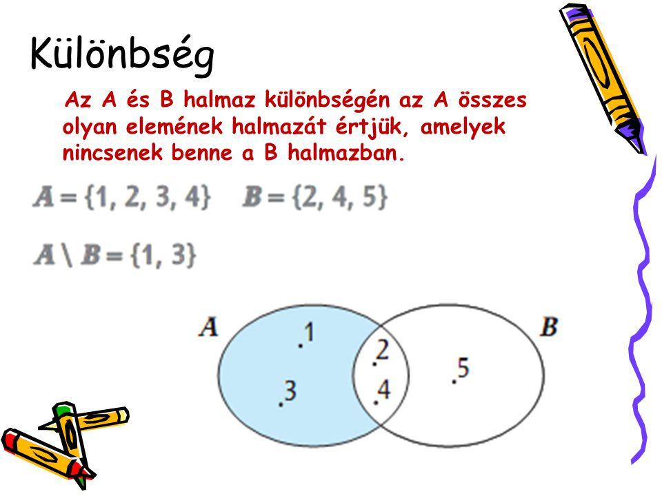 Különbség Az A és B halmaz különbségén az A összes olyan elemének halmazát értjük, amelyek nincsenek benne a B halmazban.