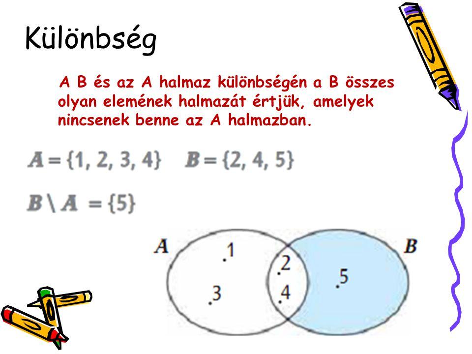 Különbség A B és az A halmaz különbségén a B összes olyan elemének halmazát értjük, amelyek nincsenek benne az A halmazban.