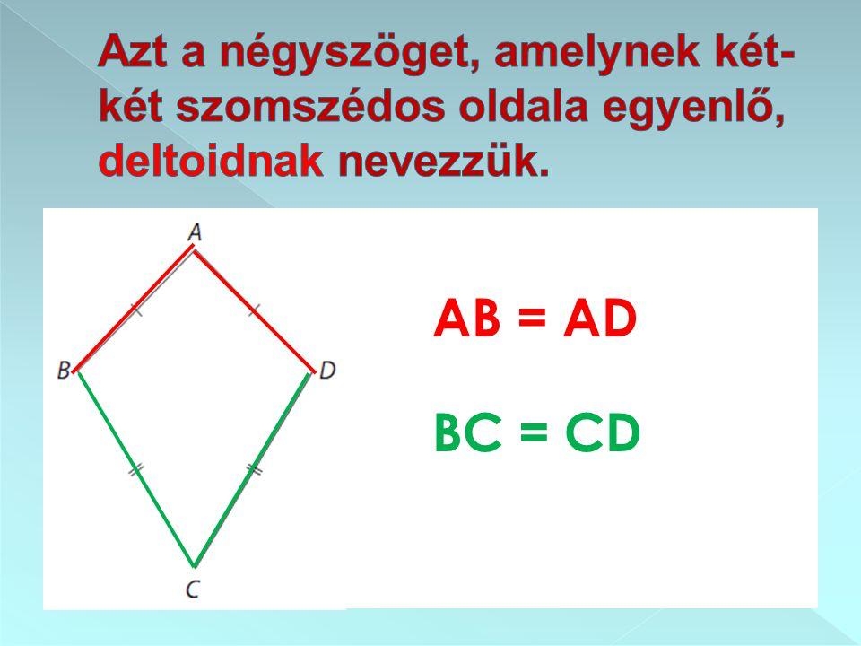 Azt a négyszöget, amelynek két-két szomszédos oldala egyenlő, deltoidnak nevezzük.