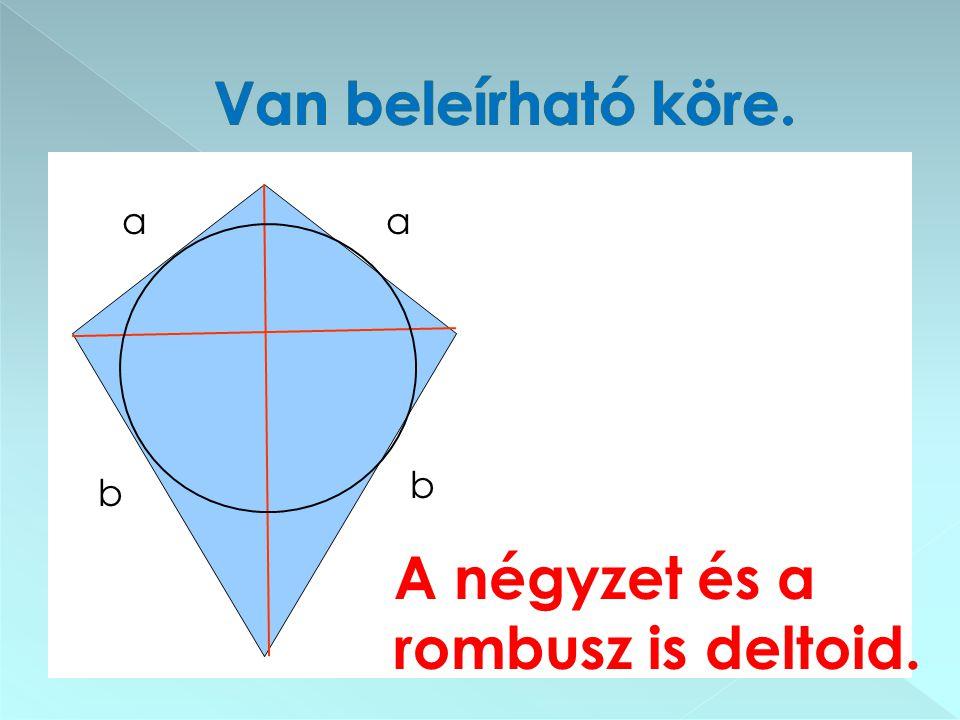 Van beleírható köre. α α b b A négyzet és a rombusz is deltoid.