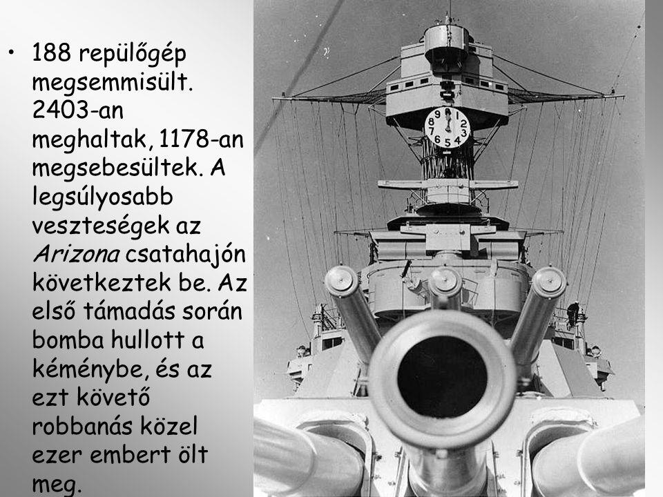 188 repülőgép megsemmisült. 2403-an meghaltak, 1178-an megsebesültek