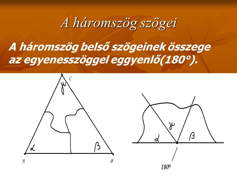 A háromszög szögei A háromszög belső szögeinek összege