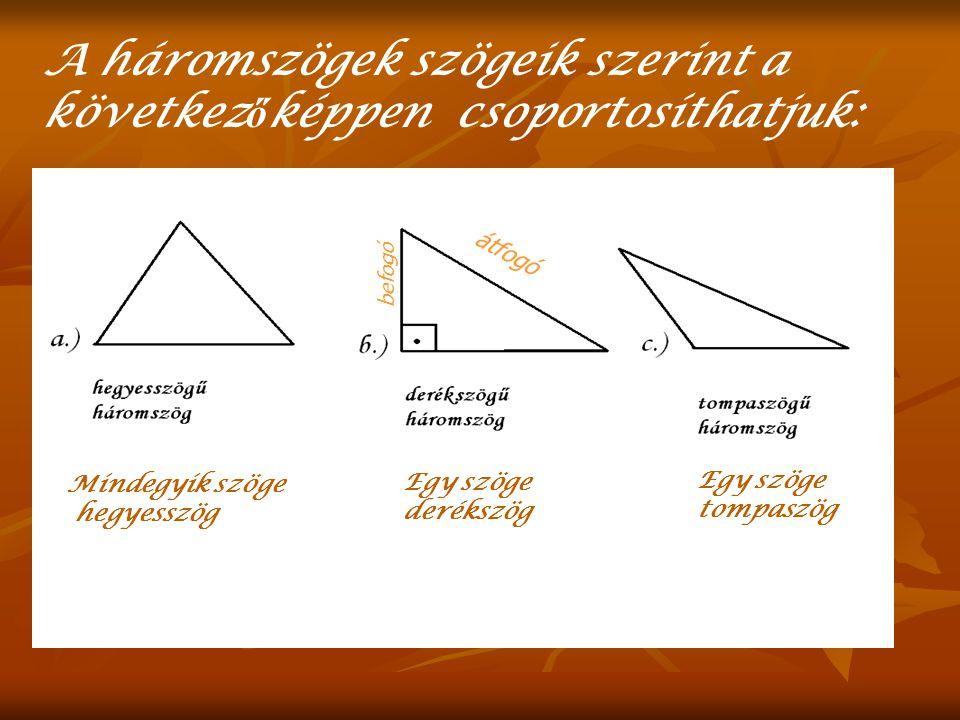 A háromszögek szögeik szerint a következőképpen csoportosíthatjuk: