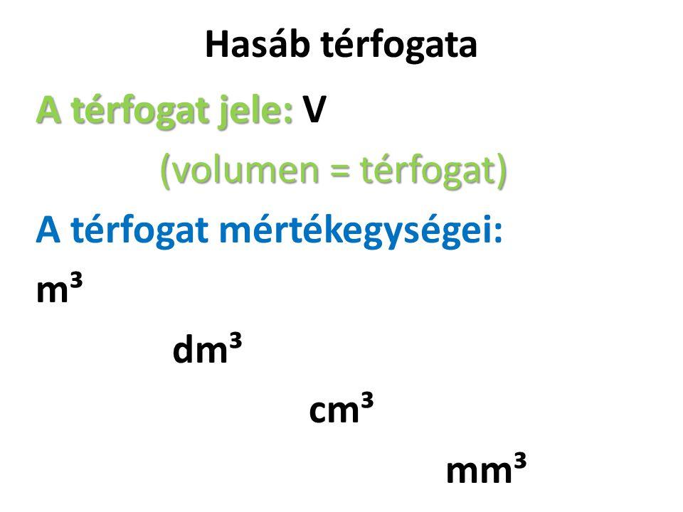 Hasáb térfogata A térfogat jele: V (volumen = térfogat) A térfogat mértékegységei: m³ dm³ cm³ mm³