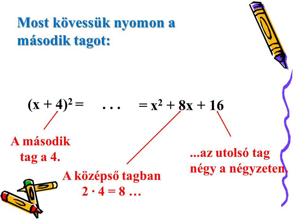 Most kövessük nyomon a második tagot: (x + 4)2 = . . . = x2 + 8x + 16