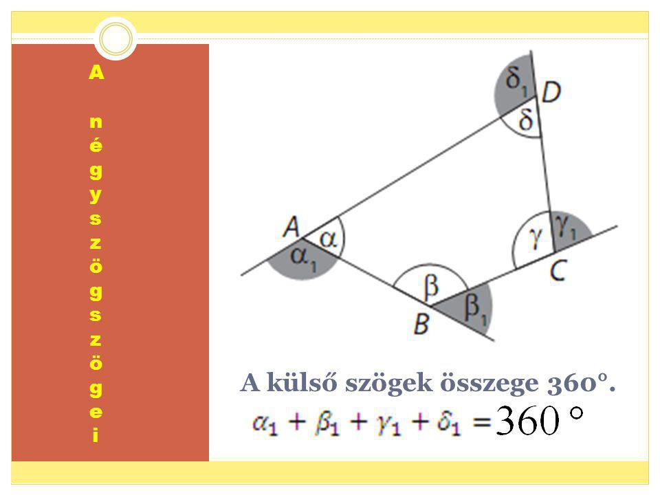 A külső szögek összege 360°.