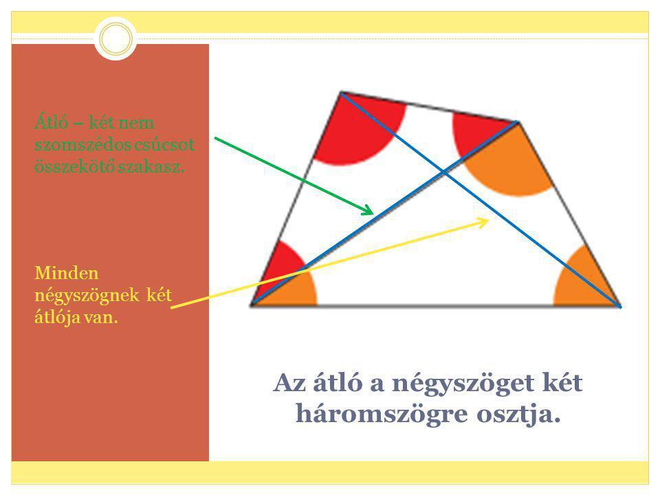 Az átló a négyszöget két háromszögre osztja.