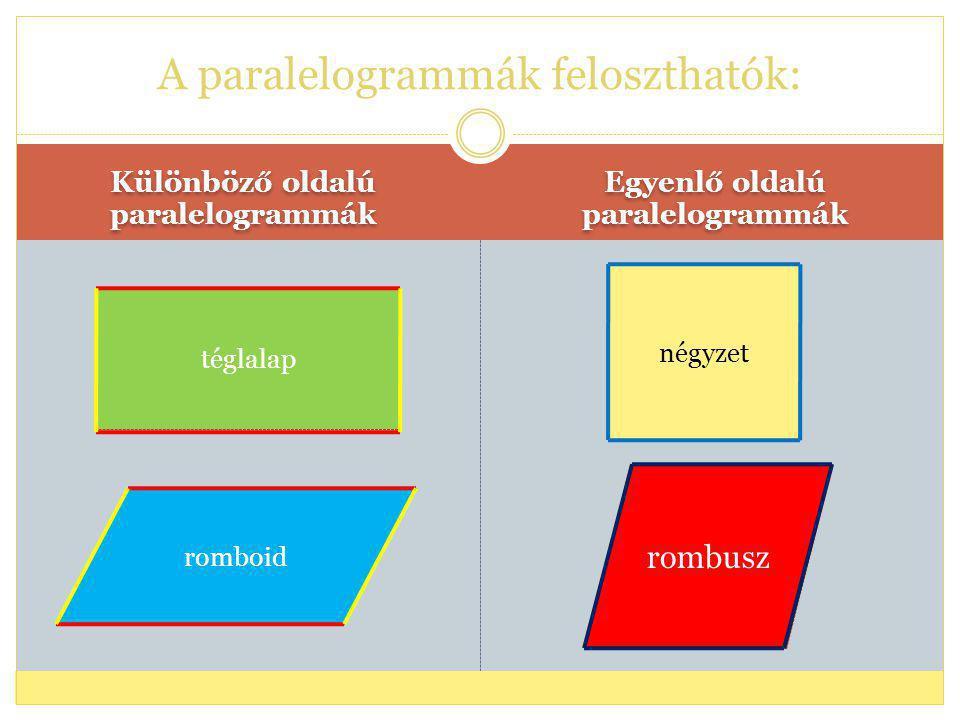 A paralelogrammák feloszthatók: