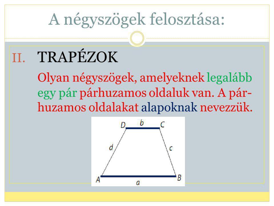 A négyszögek felosztása: