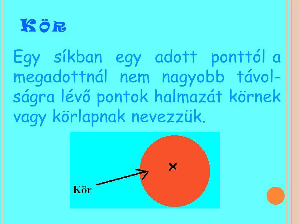 Kör Egy síkban egy adott ponttól a megadottnál nem nagyobb távol-ságra lévő pontok halmazát körnek vagy körlapnak nevezzük.