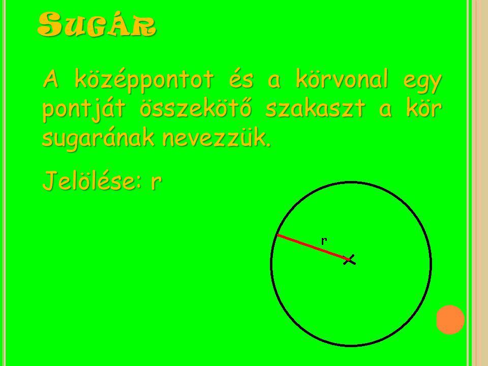 Sugár A középpontot és a körvonal egy pontját összekötő szakaszt a kör sugarának nevezzük.