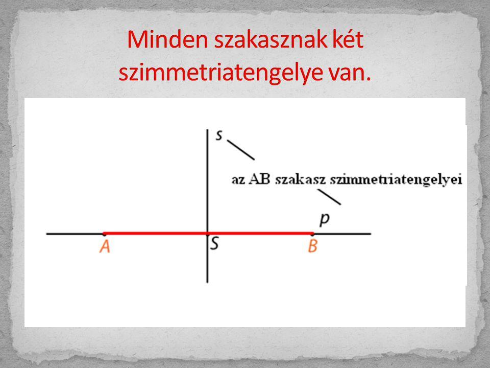 Minden szakasznak két szimmetriatengelye van.