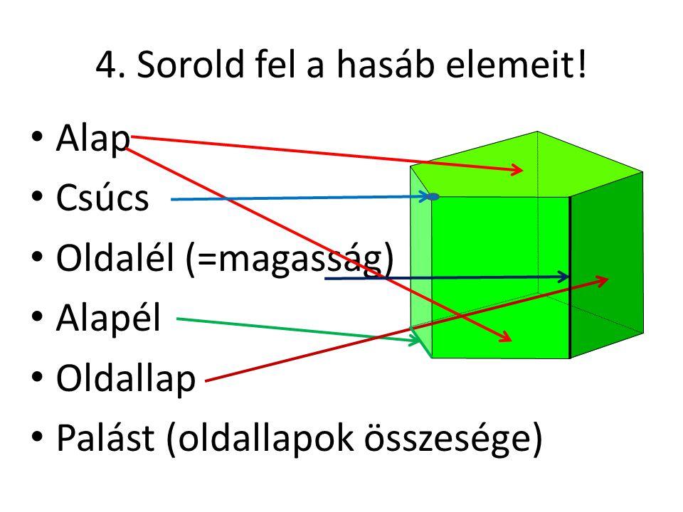 4. Sorold fel a hasáb elemeit!