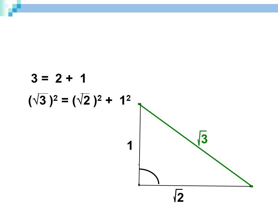 3 = 2 + 1 (3 )2 = (2 )2 + 12 3 1 . 2
