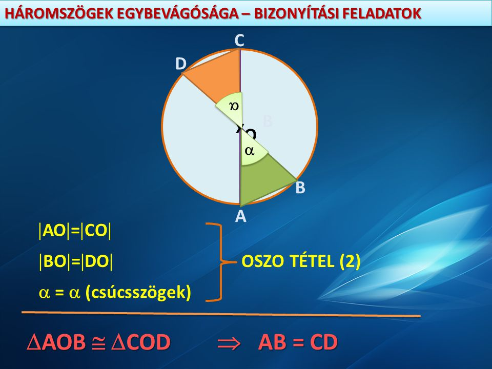 AOB  COD  AB = CD x A B C D O AO=CO BO=DO OSZO TÉTEL (2)
