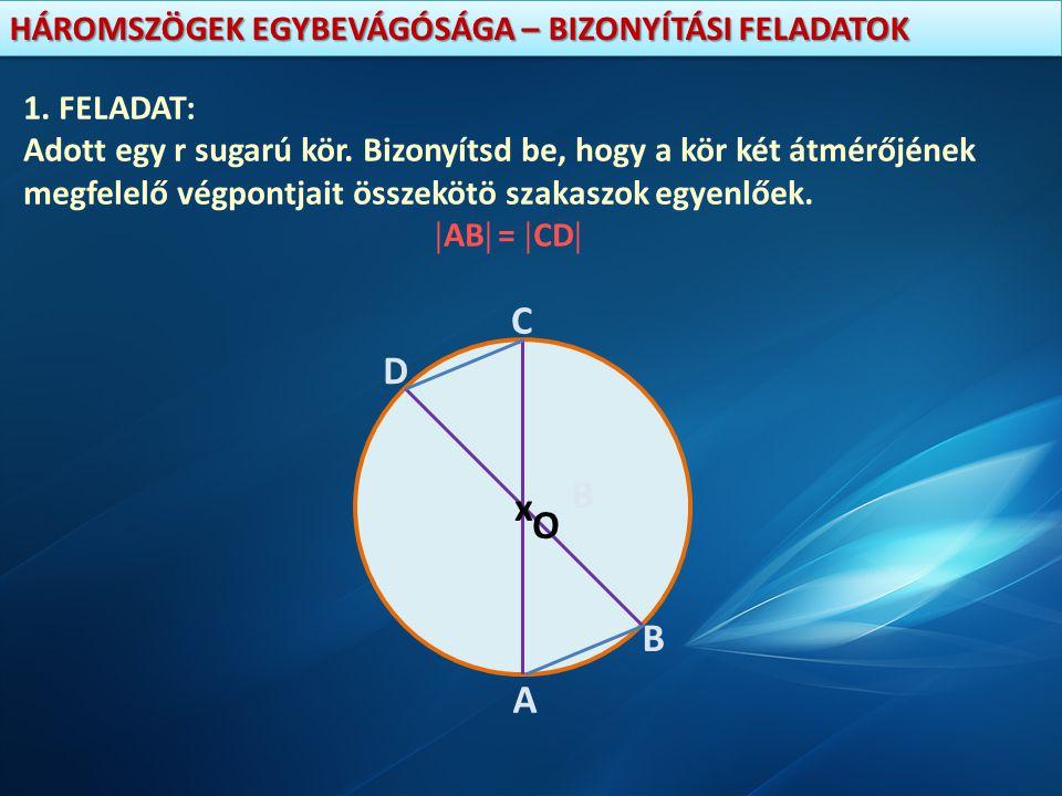 1. FELADAT: Adott egy r sugarú kör. Bizonyítsd be, hogy a kör két átmérőjének. megfelelő végpontjait összekötö szakaszok egyenlőek.