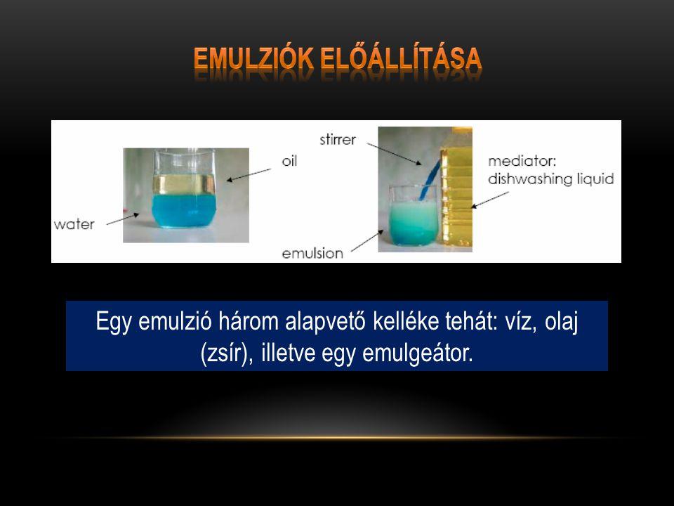Emulziók előállítása Egy emulzió három alapvető kelléke tehát: víz, olaj (zsír), illetve egy emulgeátor.