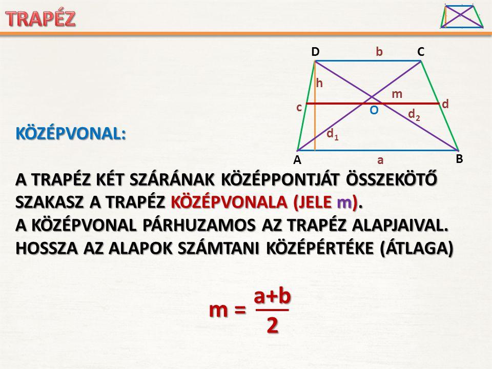 a+b m = 2 KÖZÉPVONAL: A TRAPÉZ KÉT SZÁRÁNAK KÖZÉPPONTJÁT ÖSSZEKÖTŐ