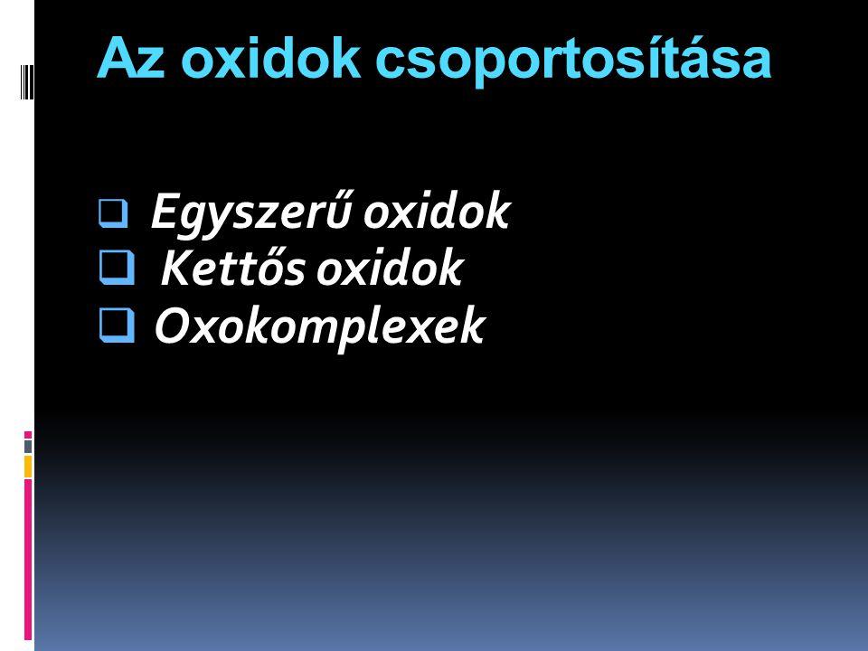 Az oxidok csoportosítása