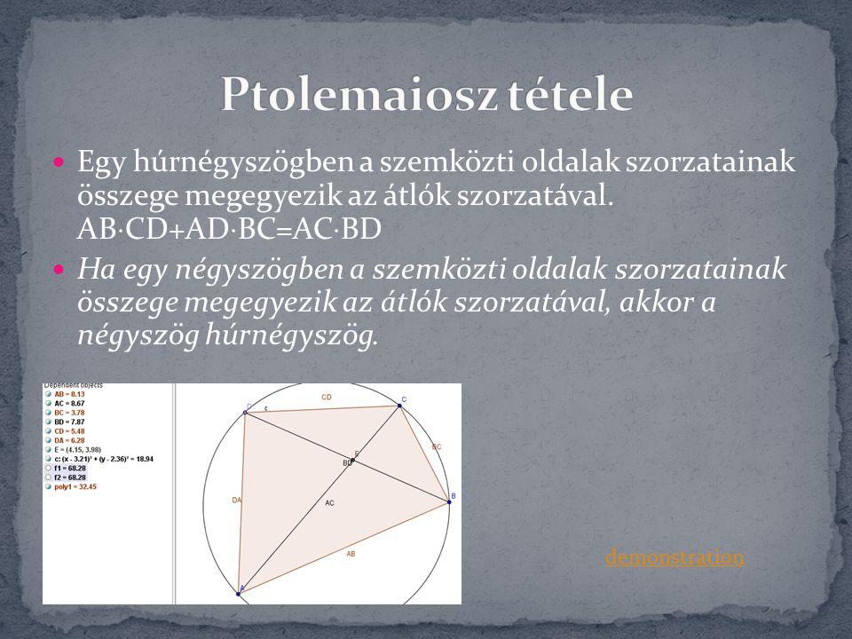 Ptolemaiosz tétele Egy húrnégyszögben a szemközti oldalak szorzatainak összege megegyezik az átlók szorzatával. ABCD+ADBC=ACBD.
