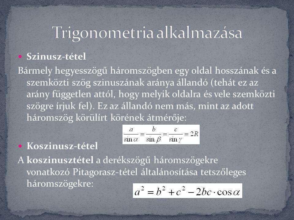 Trigonometria alkalmazása