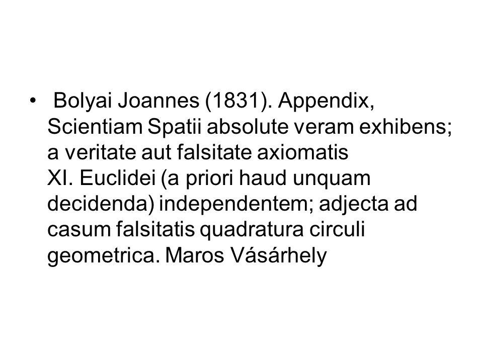 Bolyai Joannes (1831). Appendix, Scientiam Spatii absolute veram exhibens; a veritate aut falsitate axiomatis XI. Euclidei (a priori haud unquam decidenda) independentem; adjecta ad casum falsitatis quadratura circuli geometrica. Maros Vásárhely