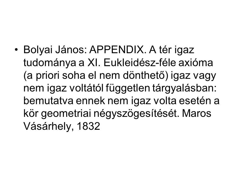 Bolyai János: APPENDIX. A tér igaz tudománya a XI